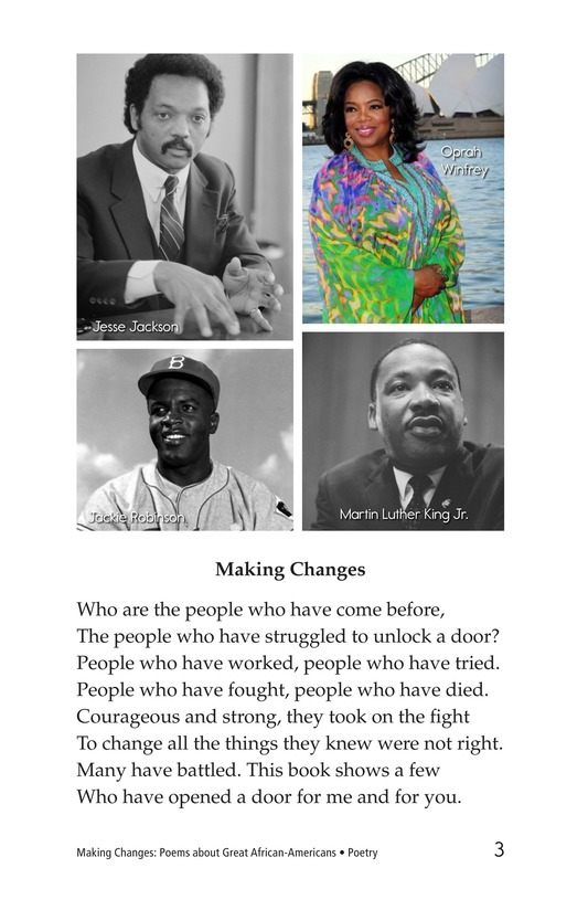 Book Preview For Making Changes: Poems About Great African Americans Page 3