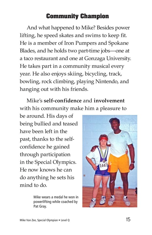 Book Preview For Mike Van Zee, Special Olympian Page 15
