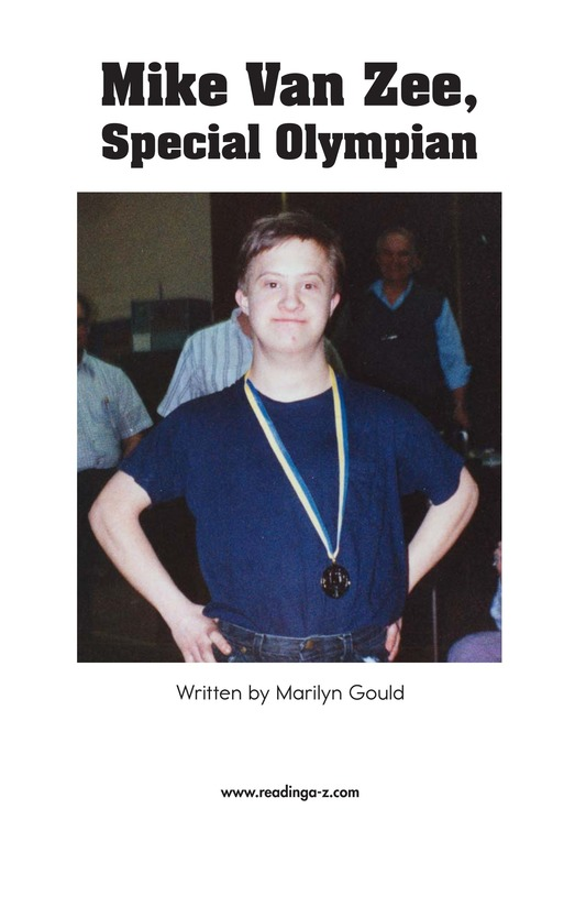Book Preview For Mike Van Zee, Special Olympian Page 2