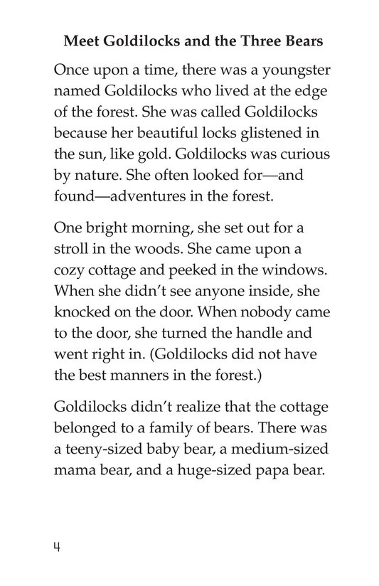 Book Preview For Goldilocks and the Three Bears Page 4