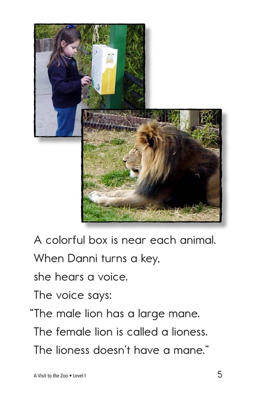 Book Preview For A Visit to the Zoo Page 5