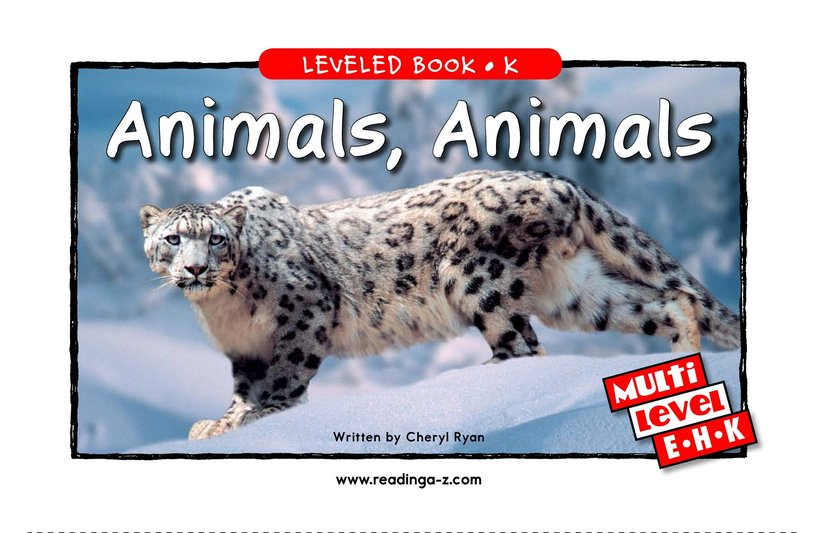 Book Preview For Animals, Animals Page 1