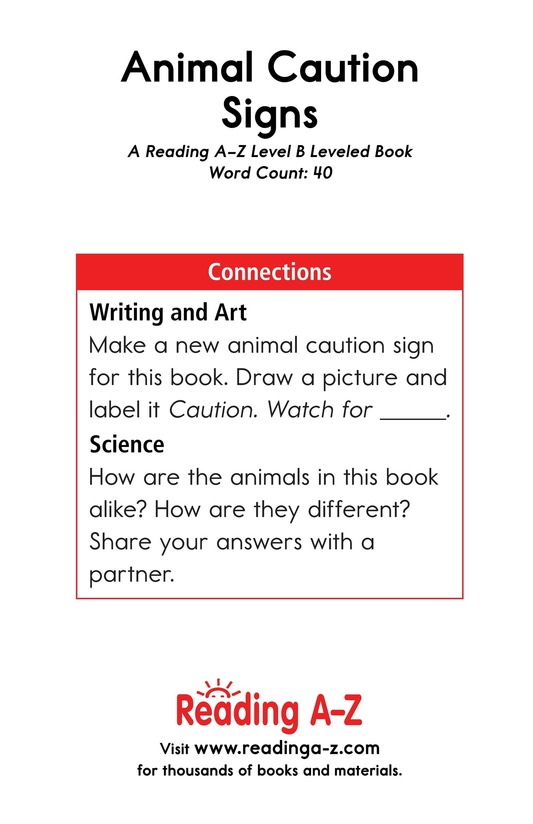 Book Preview For Animal Caution Signs Page 13
