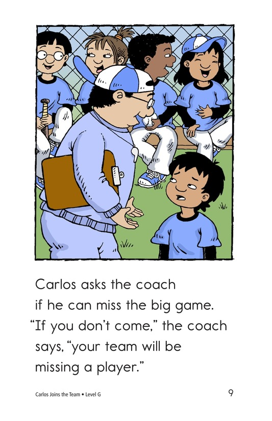 Book Preview For Carlos Joins the Team Page 9