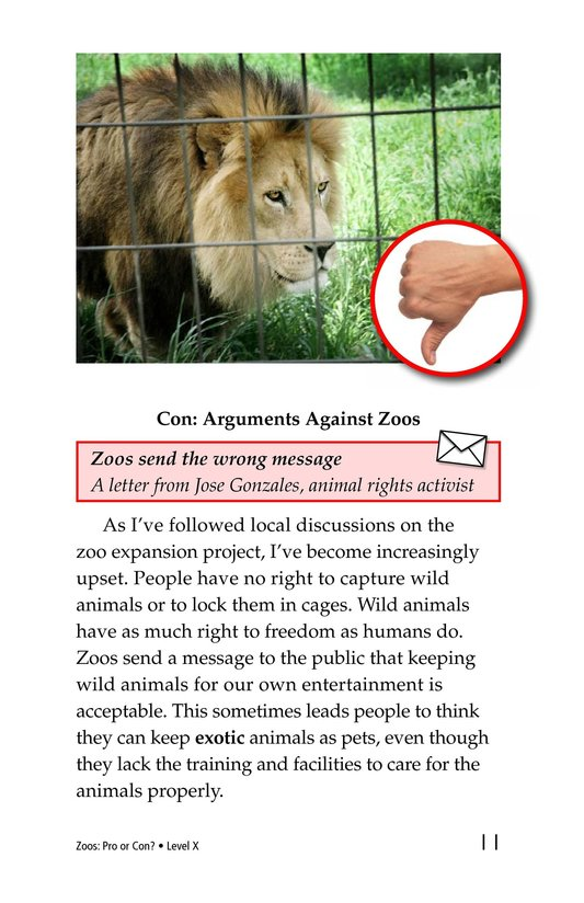 Book Preview For Zoos: Pro or Con? Page 11