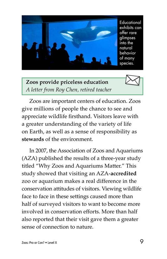 Book Preview For Zoos: Pro or Con? Page 9