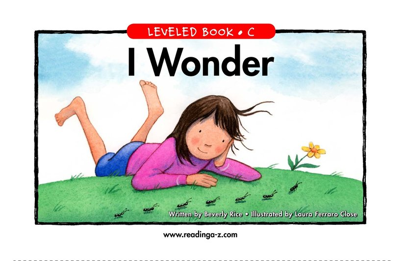 Book Preview For I Wonder Page 1