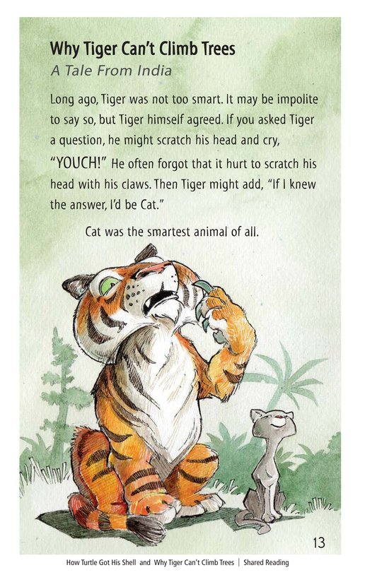 Book Preview For How Turtle Got His Shell and Why Tiger Can't Climb Trees Page 13