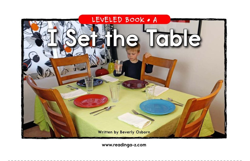 Book Preview For I Set the Table Page 1