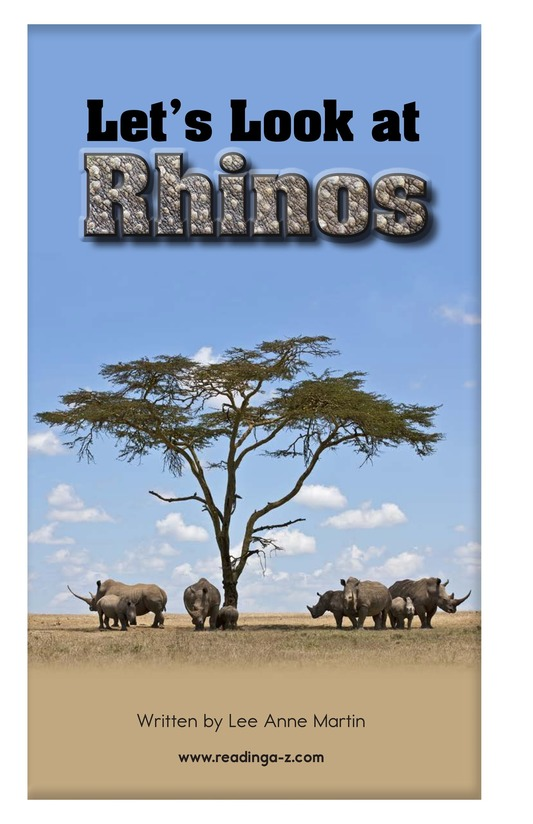 Book Preview For Let's Look at Rhinos Page 2