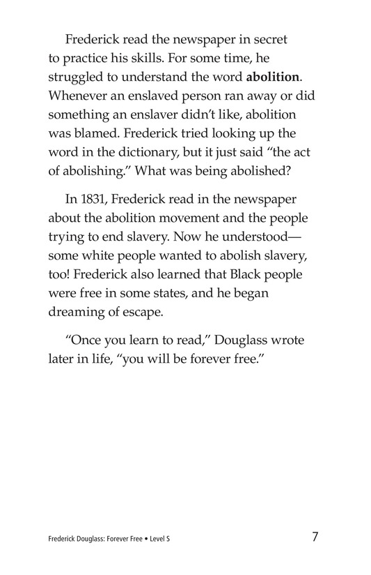 Book Preview For Frederick Douglass: Forever Free Page 7