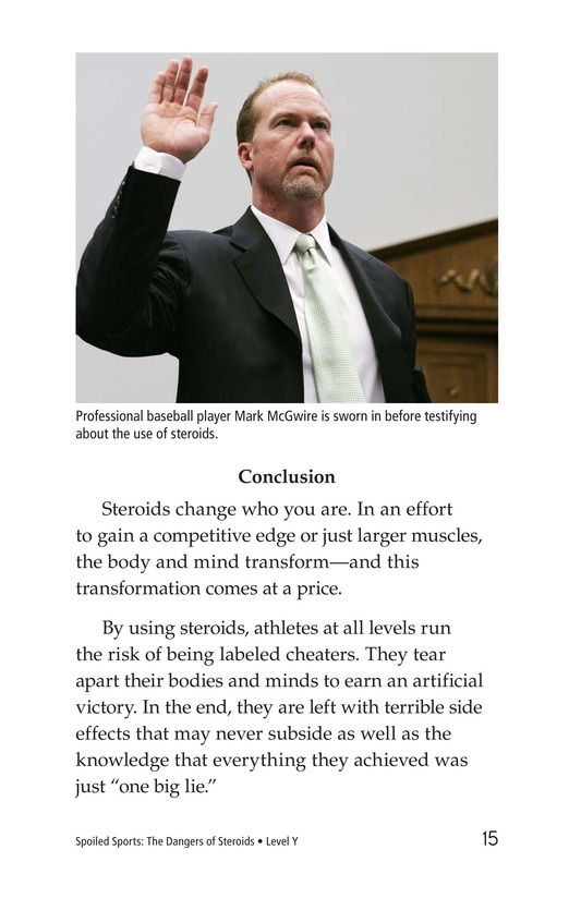 Book Preview For Spoiled Sports: The Dangers of Steroids Page 15