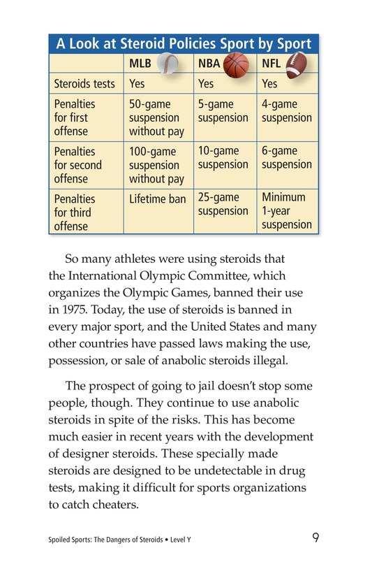 Book Preview For Spoiled Sports: The Dangers of Steroids Page 9