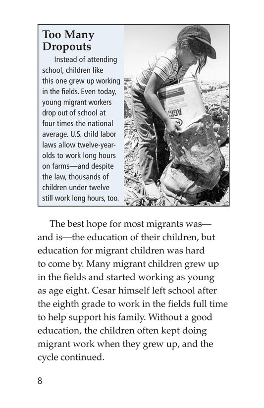 Book Preview For Cesar Chavez: Migrant Hero Page 8