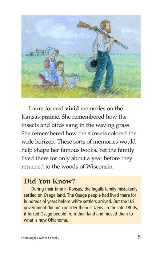 Book Preview For Laura Ingalls Wilder: A Pioneer's Life Page 5