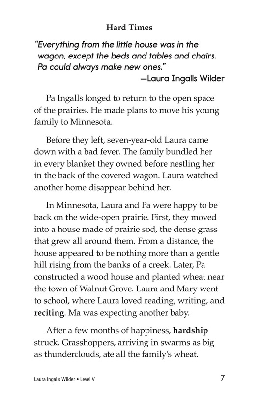 Book Preview For Laura Ingalls Wilder: A Pioneer's Life Page 7