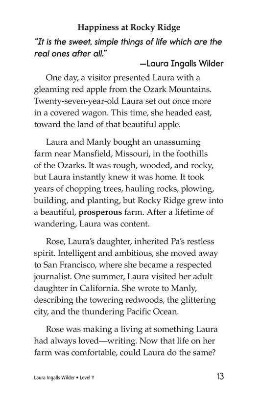 Book Preview For Laura Ingalls Wilder: A Pioneer's Life Page 13