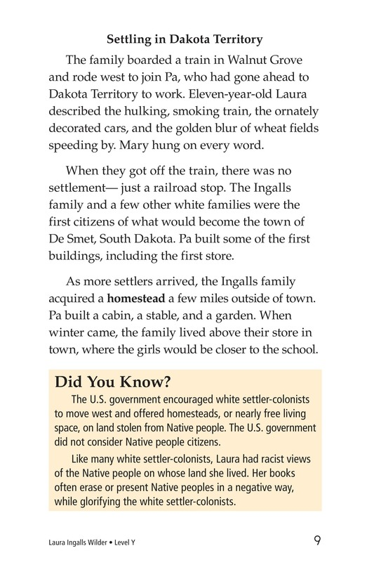 Book Preview For Laura Ingalls Wilder: A Pioneer's Life Page 9