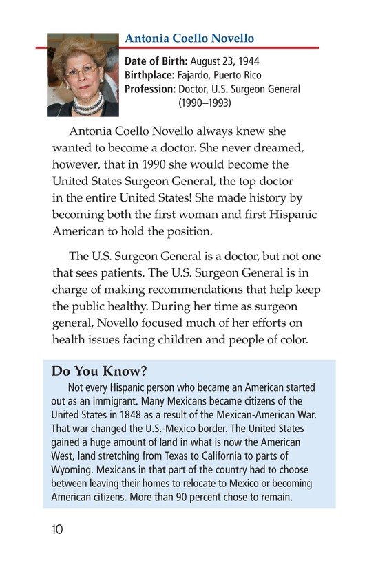 Book Preview For Famous Hispanic Americans: A Proud Heritage Page 10
