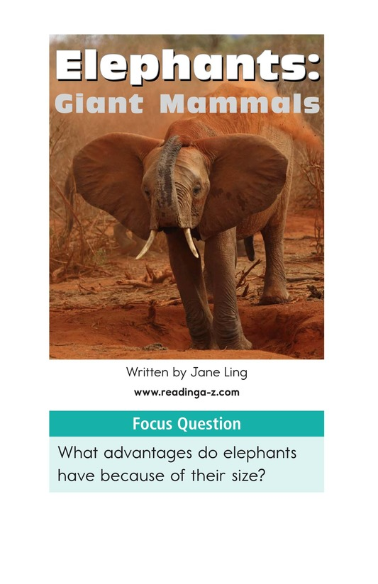 Book Preview For Elephants: Giant Mammals Page 1