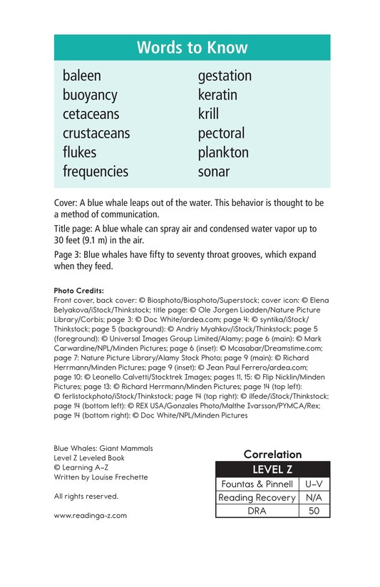 Book Preview For Blue Whales: Giant Mammals Page 2