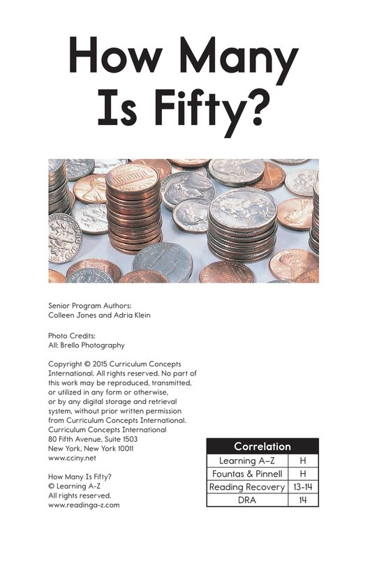 Book Preview For How Many is Fifty? Page 1