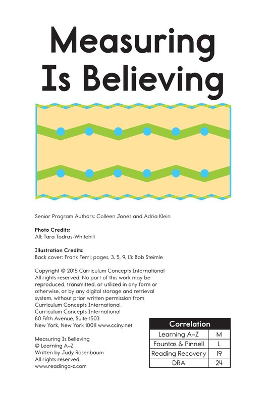 Book Preview For Measuring Is Believing Page 1