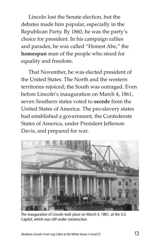 Book Preview For Abraham Lincoln: From Log Cabin to the White House Page 13