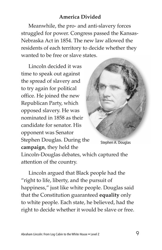 Book Preview For Abraham Lincoln: From Log Cabin to the White House Page 9