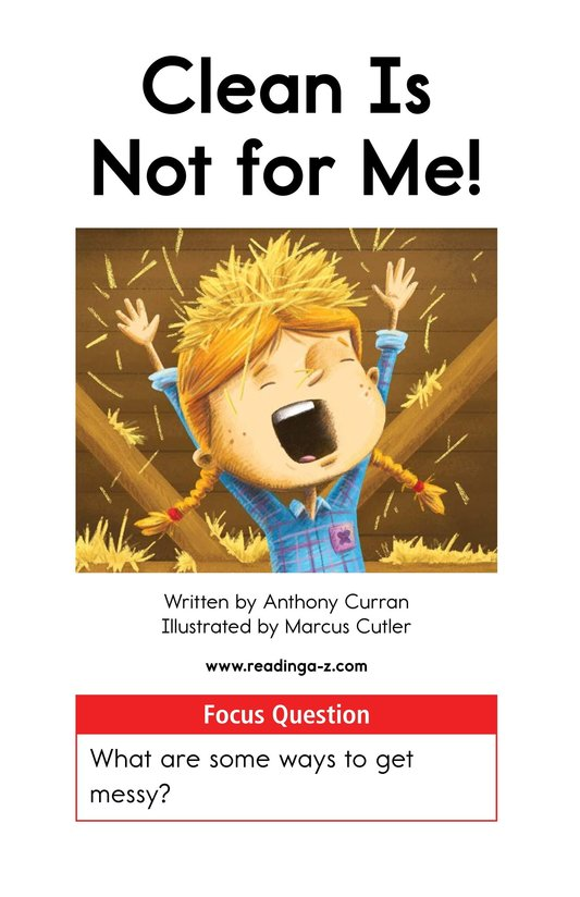 Book Preview For Clean Is Not for Me! Page 1