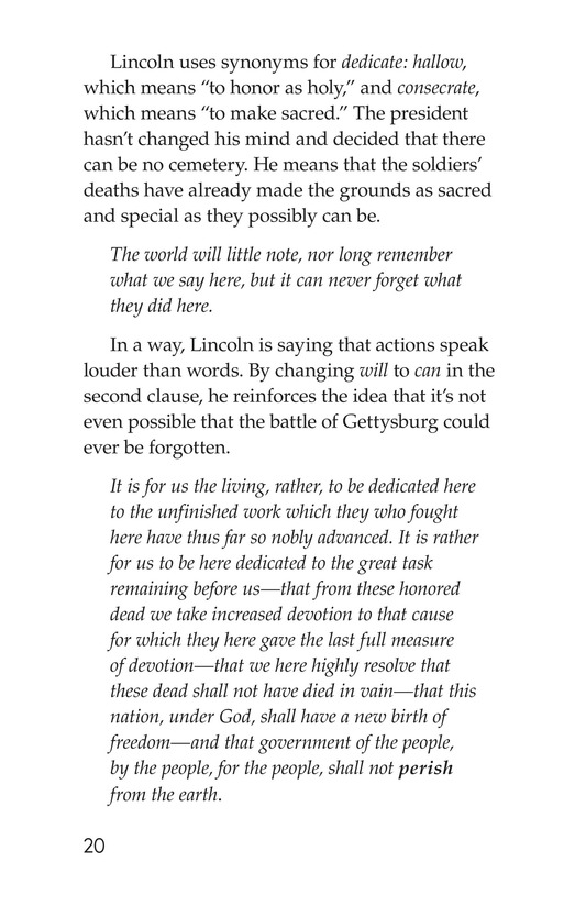 Book Preview For The Gettysburg Address Page 20