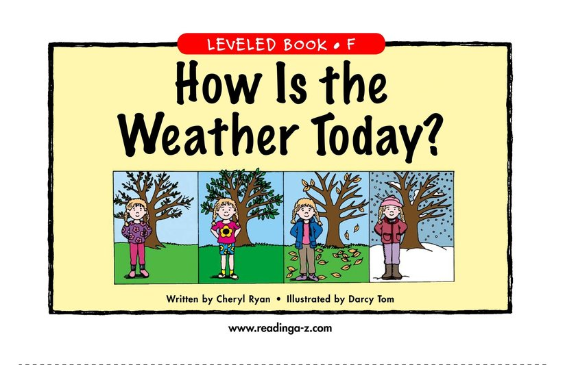 Book Preview For How Is the Weather Today? Page 1
