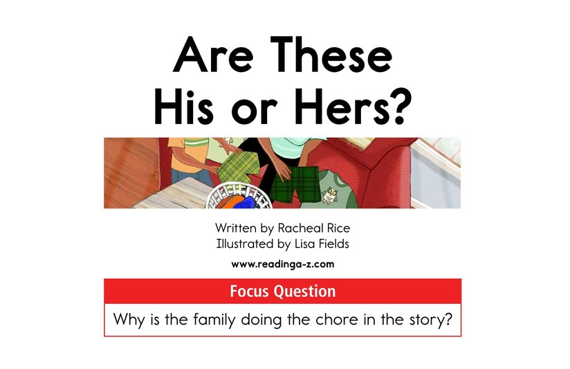 Book Preview For Are These His or Hers? Page 1