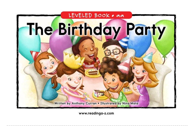 Book Preview For The Birthday Party Page 0