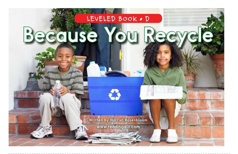 Book Preview For Because You Recycle Page 0