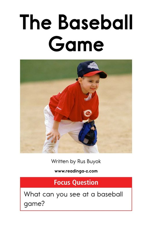 Book Preview For The Baseball Game Page 1