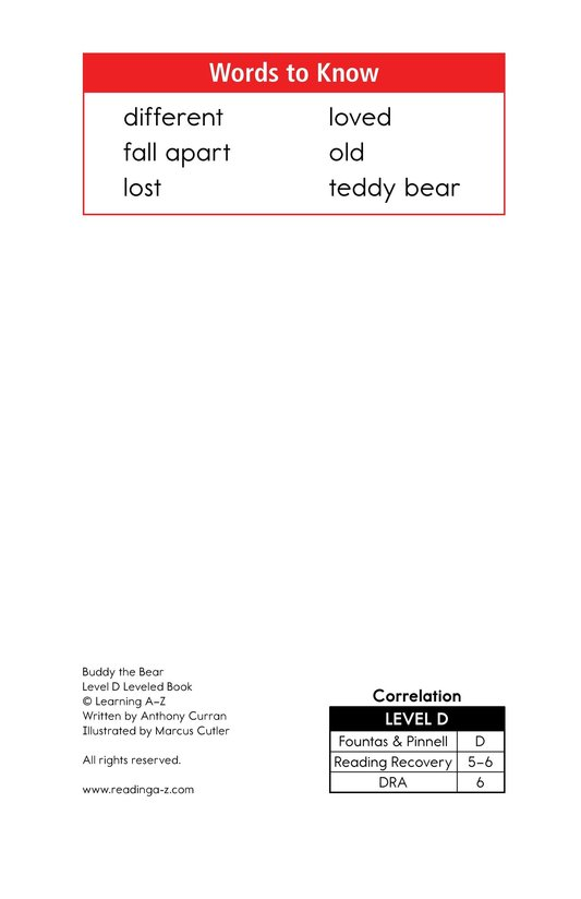 Book Preview For Buddy the Bear Page 2