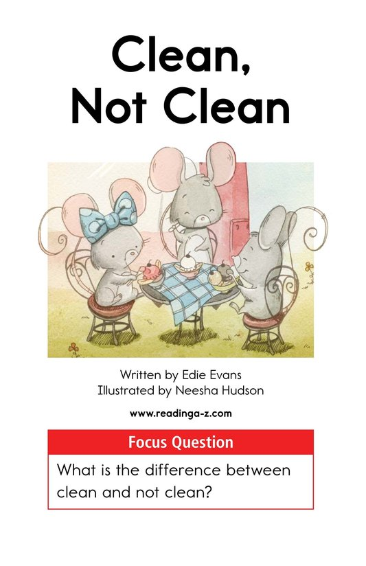 Book Preview For Clean, Not Clean Page 1
