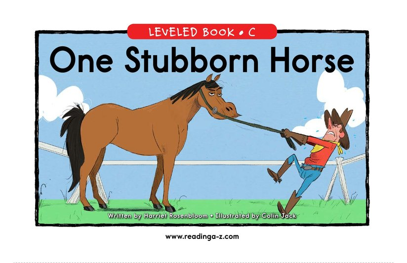 Book Preview For One Stubborn Horse Page 0