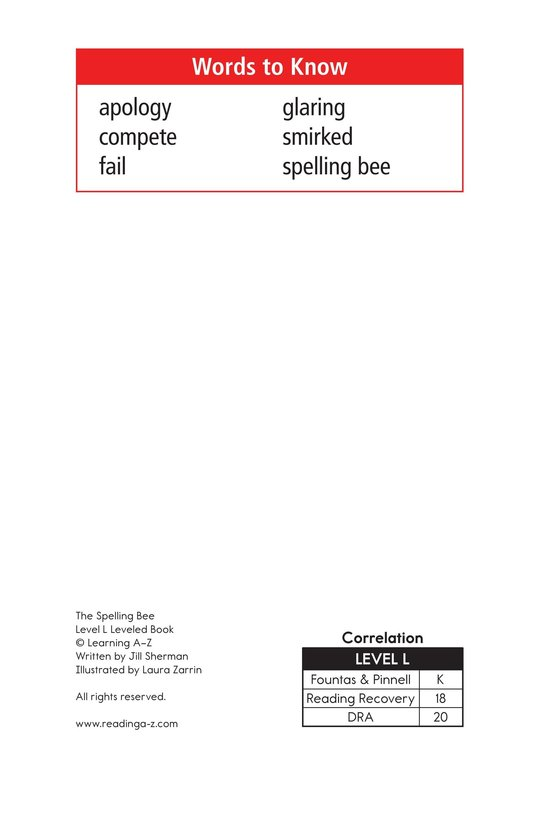 Book Preview For The Spelling Bee Page 2