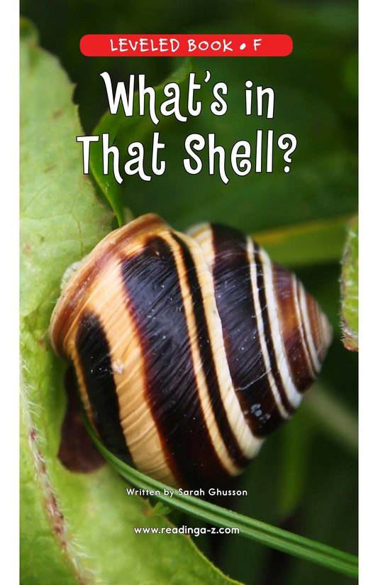 Book Preview For What's In That Shell? Page 0