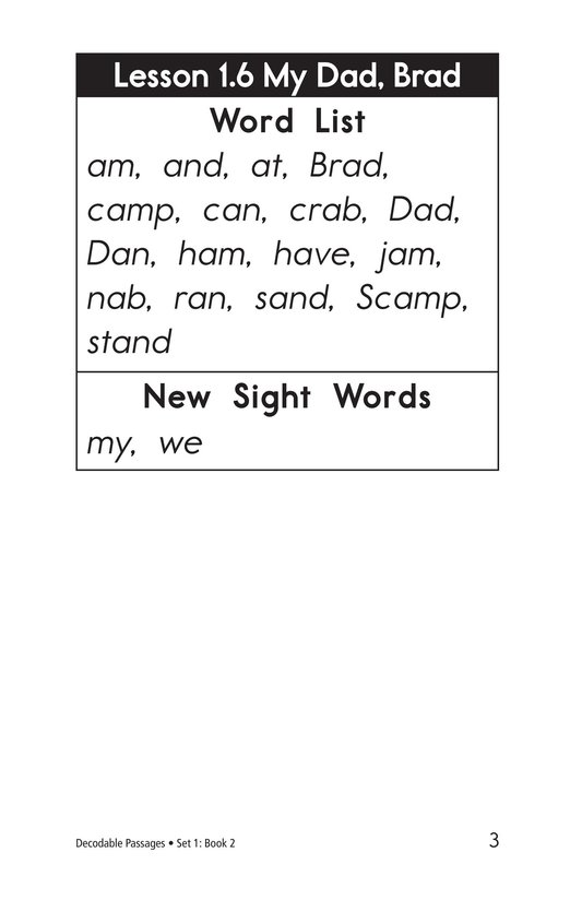 Book Preview For Decodable Passages Set 1 Book 2 Page 3