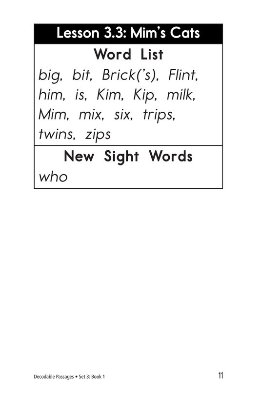 Book Preview For Decodable Passages Set 3 Book 1 Page 11