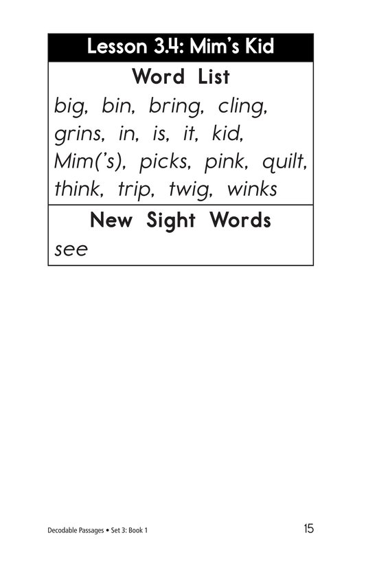 Book Preview For Decodable Passages Set 3 Book 1 Page 15