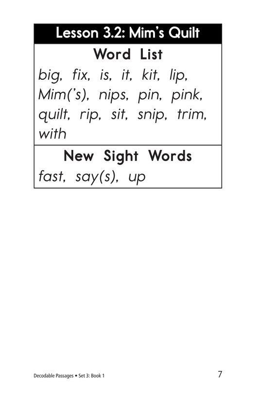 Book Preview For Decodable Passages Set 3 Book 1 Page 7