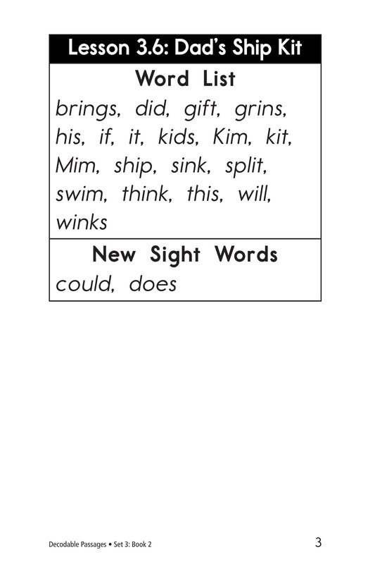 Book Preview For Decodable Passages Set 3 Book 2 Page 3