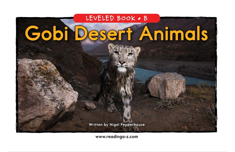 Book Preview For Gobi Desert Animals Page 0