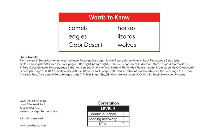 Book Preview For Gobi Desert Animals Page 2