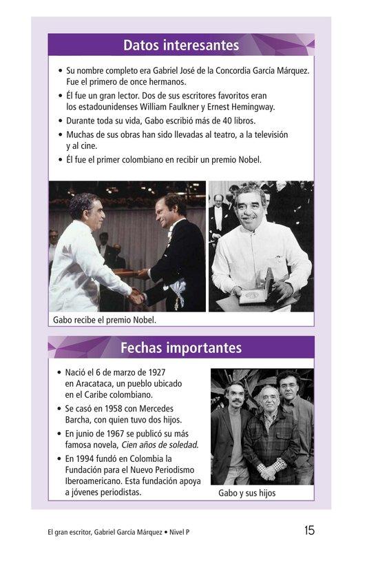 Book Preview For El gran escritor, Gabriel García Márquez Page 15