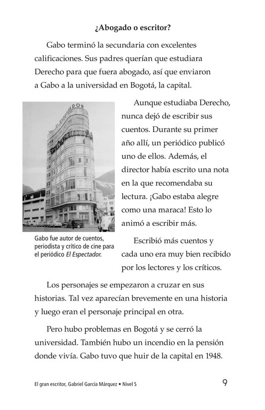 Book Preview For El gran escritor, Gabriel García Márquez Page 9